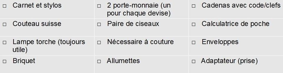 check list coté pratique