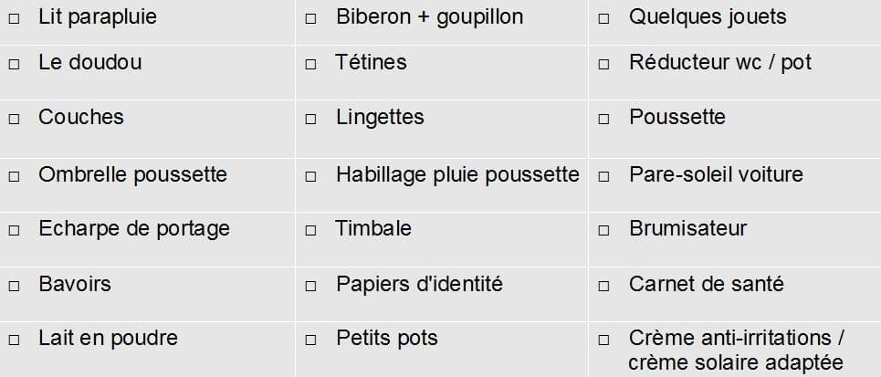 check list bébé