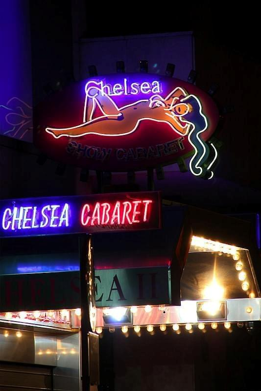 Madrid. Chelsea Cabaret. Neon sign. Gran Vía street. Spain