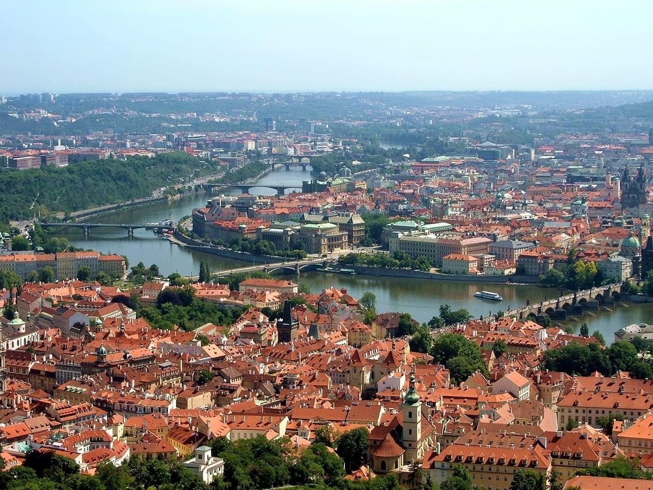 The panorama of Prague and the Mala Strana district