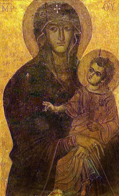 The beautiful icon of the Virgin on a gold background