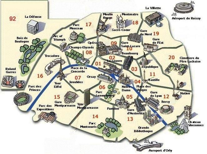 Carte de paris plan touristique jardins de paris for Carte jardin de tadine