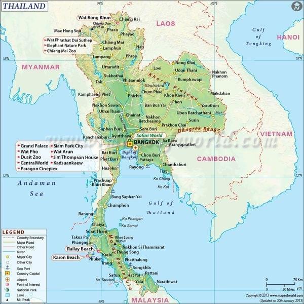Thailande carte touristique | Arts et Voyages