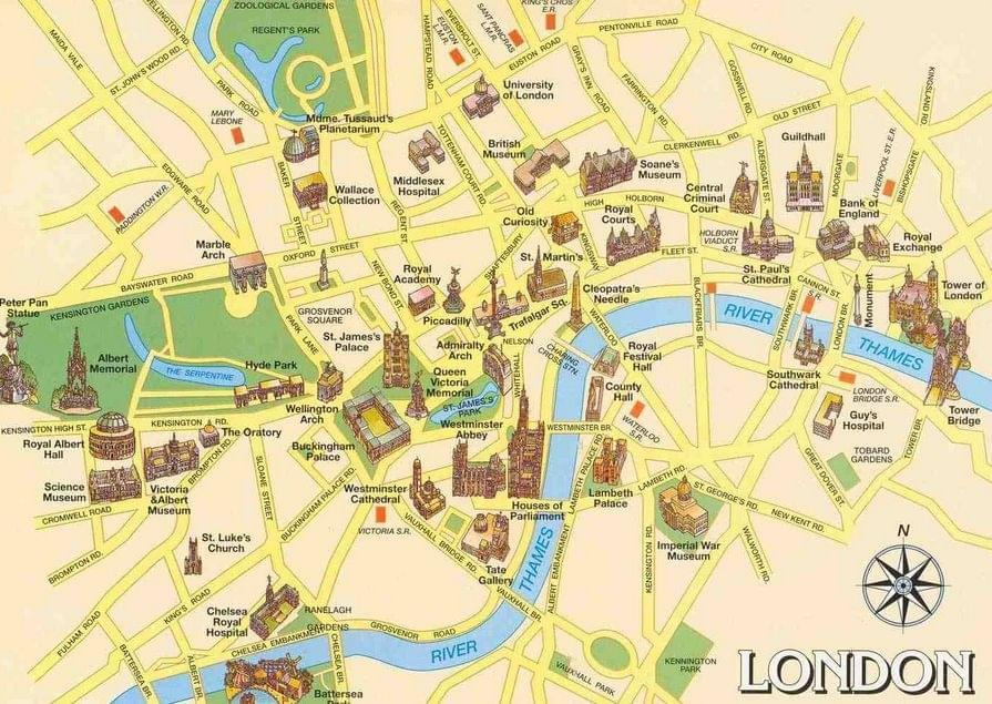 carte de londres plan touristique les rues et places de londres incontournables. Black Bedroom Furniture Sets. Home Design Ideas