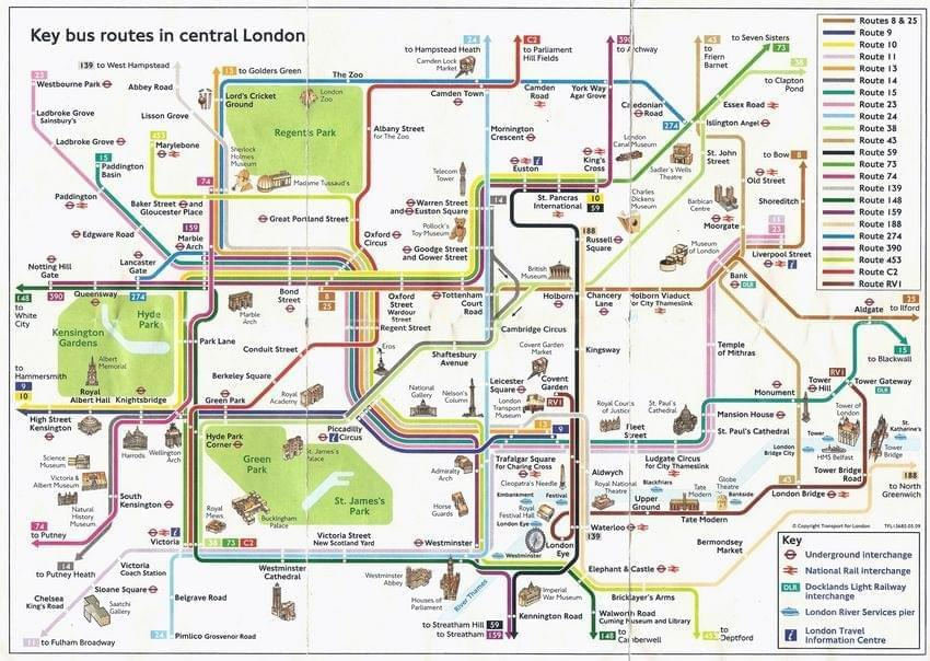 Top Carte de Londres : Plan touristique Top 50 des monuments de Londres RS32