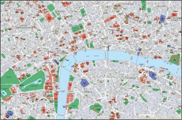 Super Carte de Londres : Plan touristique Monuments de Londres LP39