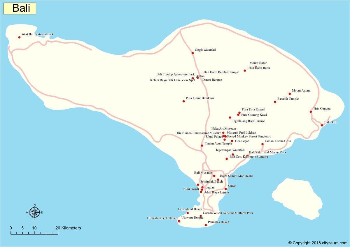 Carte Bali Et Gili.Carte De Bali Plan Touristique Bali