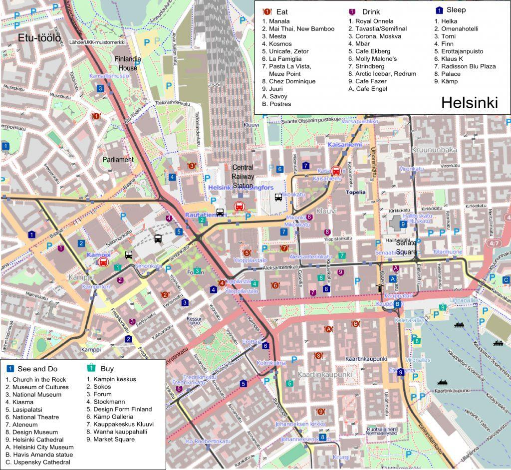 Photo La carte des transports en commun à Helsinki